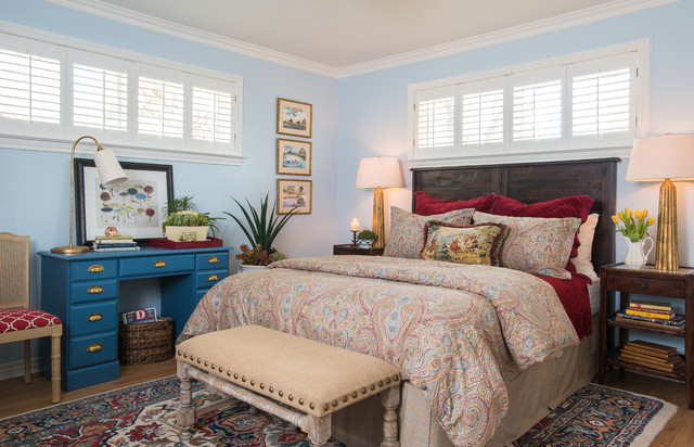 Hunter Douglas Shutters Bedroom Traditional with Bedroom Bench Light Blue