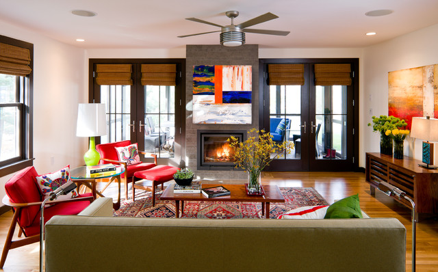 Hunter Douglas Shutters Living Room Contemporary with Area Rug Artwork Ceiling
