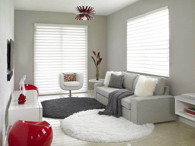 hunter douglas silhouette Family Room Contemporary with accent decor alfombras redondas