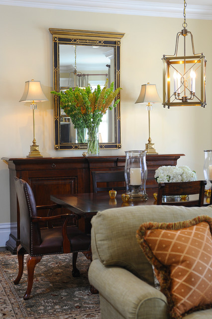 Hurricane Candle Holders Dining Room Traditional with Apricot Chairs Credenza Floral
