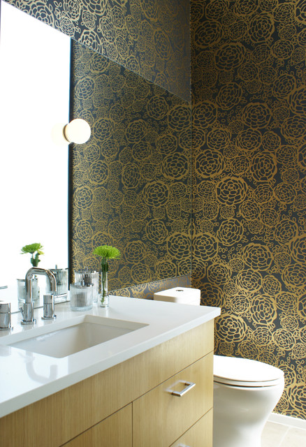 Hygge and West Bathroom Modern with Blue and Gold Chrome