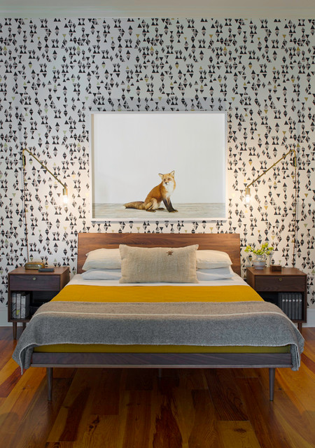 Hygge and West Bedroom Contemporary with Brass Wall Sconce Exposed