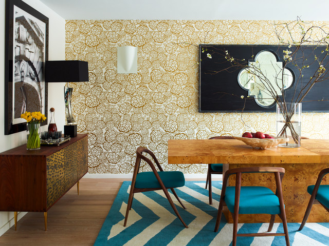 hygge and west Dining Room Contemporary with accent wall black framed