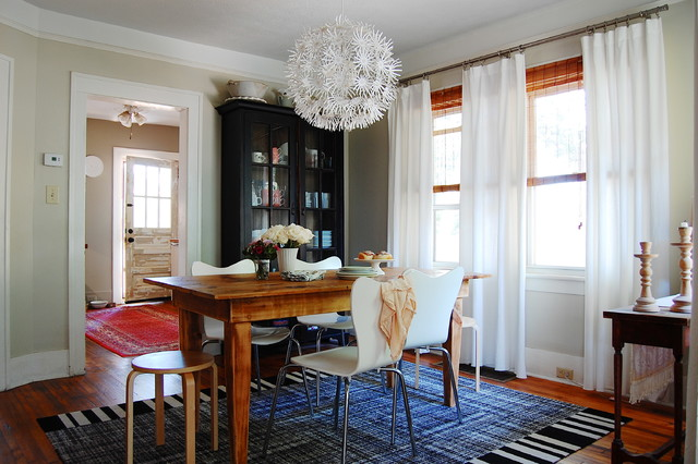 Hygge and West Dining Room Eclectic with Bamboo Blinds Beige Flowers
