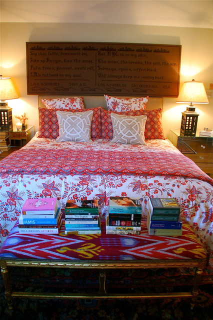 Ikat Bedding Bedroom Eclectic with Bedside Table Decorative Pillows