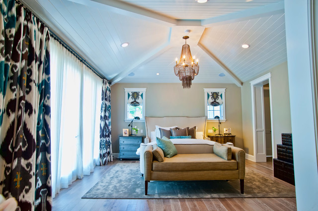 ikat curtains Bedroom Eclectic with beadboard ceiling bed bench