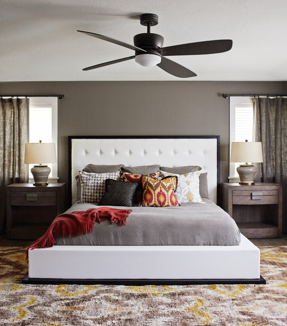 Ikat Pillows Bedroom Transitional with Ceiling Fan Colorful Throw