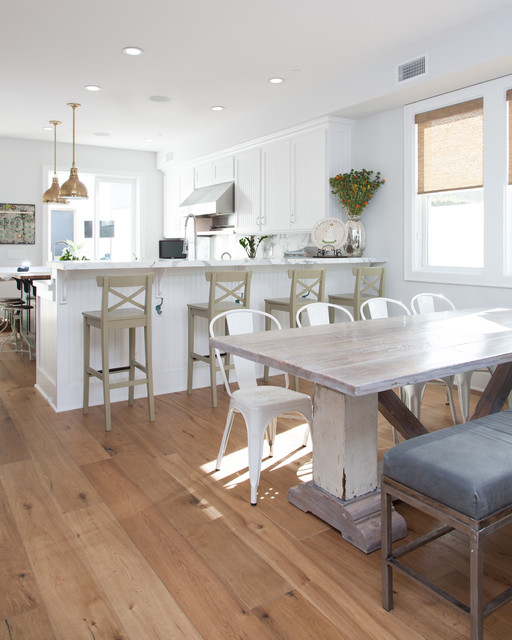 ikea barstools Kitchen Beach with distressed wood dining table