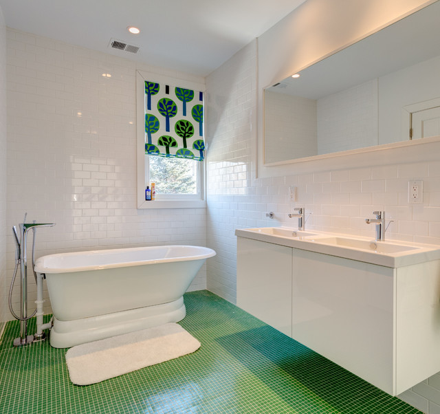 ikea blinds Bathroom Modern with blue and green roman