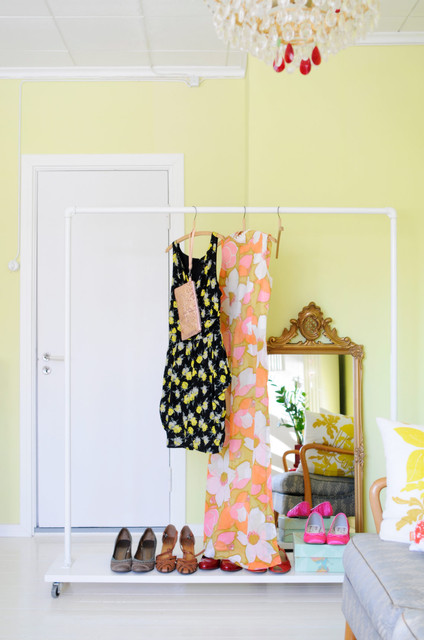 Ikea Clothing Rack Bedroom Eclectic with Chartreuse Diy Rack