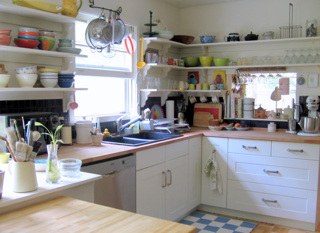 Ikea Comforters Kitchen Eclectic with Butcher Block Countertops French