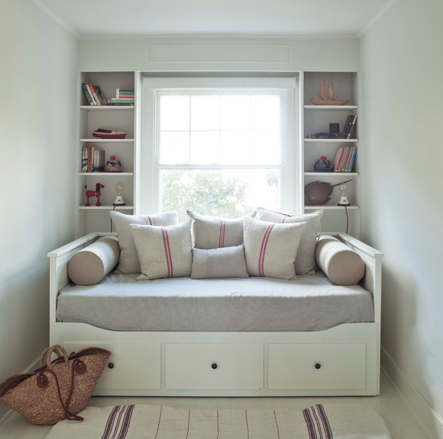 ikea daybed Bedroom Modern with bolsters books built-in shelves
