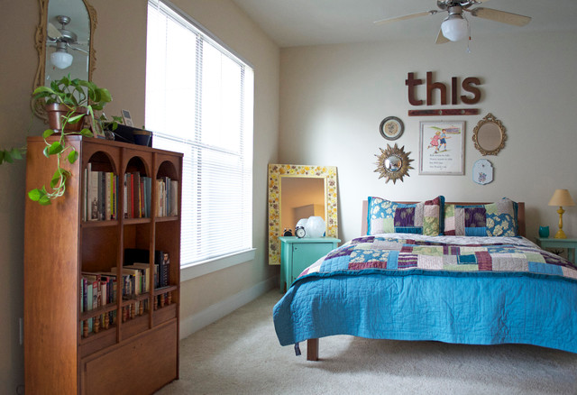 ikea duvets Bedroom Eclectic with apartment bed blinds books