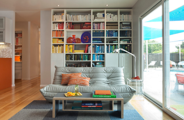 Ikea Futon Living Room Midcentury with Area Rug Bookcase Books