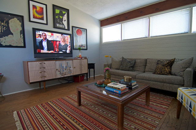 Ikea Media Console Living Room Midcentury with Breeze Coffee Colorful Rug
