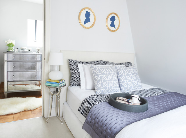 ikea memory foam mattress Bedroom Transitional with blue and white faux