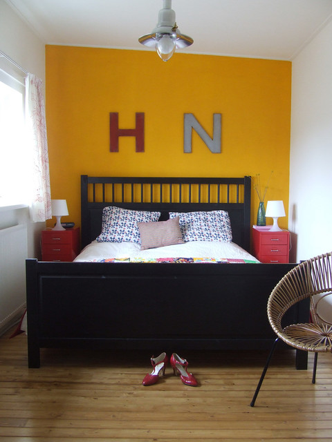 Ikea Nightstand Bedroom Eclectic with Acapulco Chair Black Bed