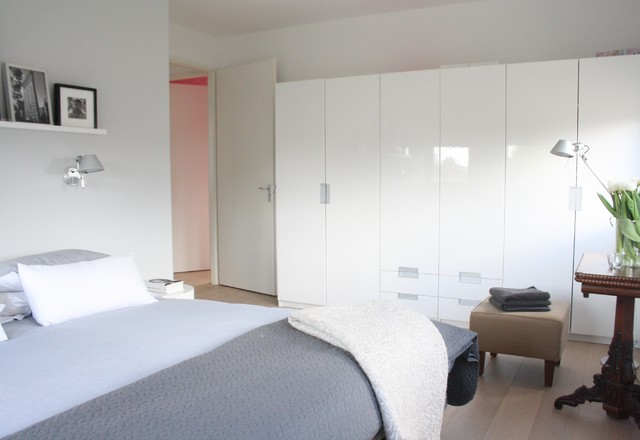Ikea Pax Bedroom Contemporary with Closet Gray Bedding Neutral