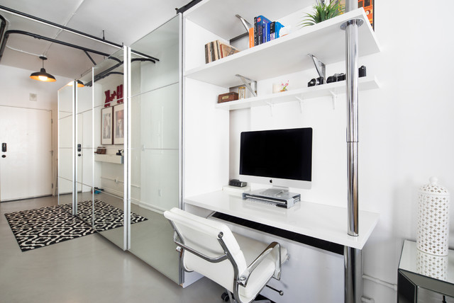 Ikea Pax Home Office Contemporary with Black and White Area