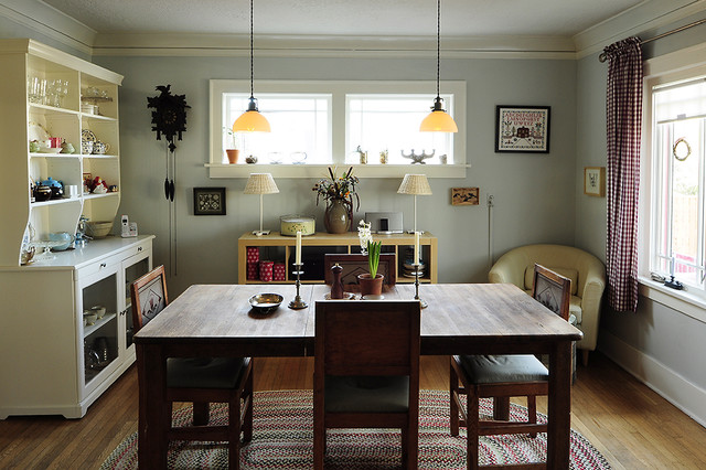 Ikea Pendant Light Dining Room Rustic with Artwork Baseboards Crown Molding