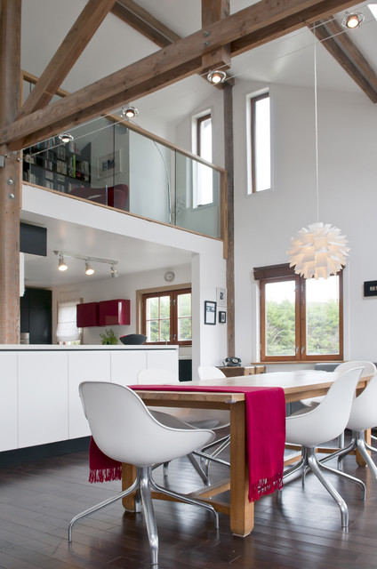 IkeatracklightingKitchenContemporarywithbarnhighceiling - Lighting in kitchen with high ceilings