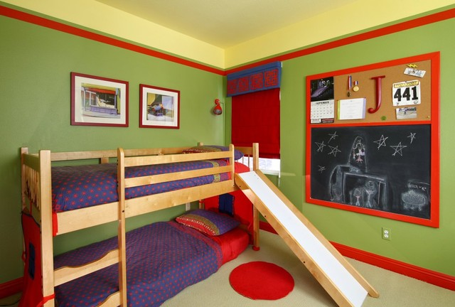ikea twin beds Kids Contemporary with Bedroom bold color bulletin