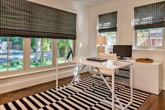 Ikea Window Treatments Home Office Transitional with Black and White Desk