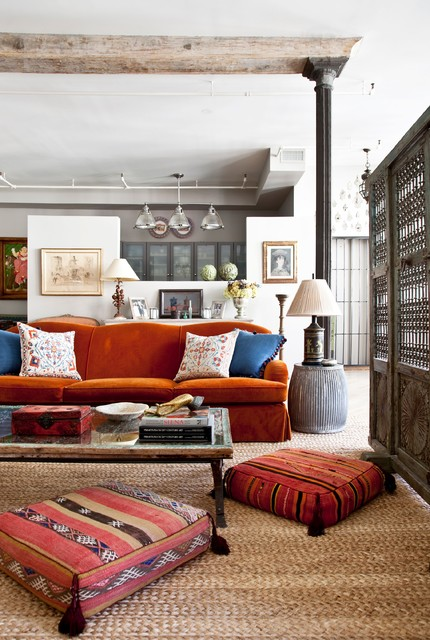 Inexpensive Couches Living Room Eclectic with Artwork Cast Iron Column