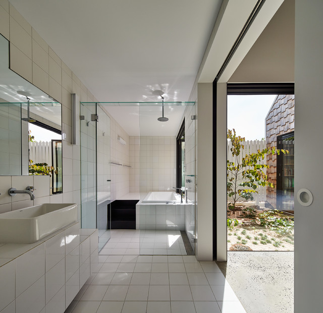 Infinity Drain Bathroom Contemporary with Black and White Bathroom1