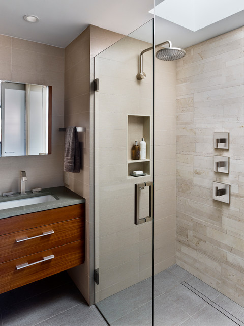 infinity drain Bathroom Contemporary with curbless shower floating vanity
