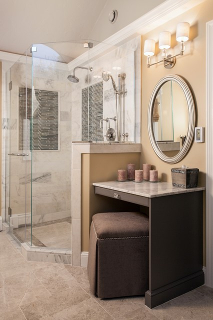 Infinity Drain Bathroom Transitional with Bedroom Built in Tv1