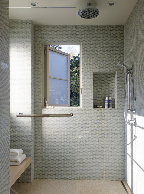 Infinity Drain Bathroom Transitional with Ceiling Mount Shower Head