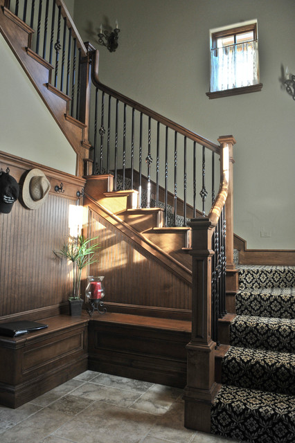 Iron Balusters Staircase Traditional with Beadboard Bench Seat Bench