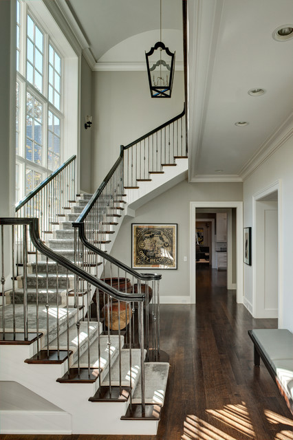 iron balusters Staircase Traditional with dark wood bench dark