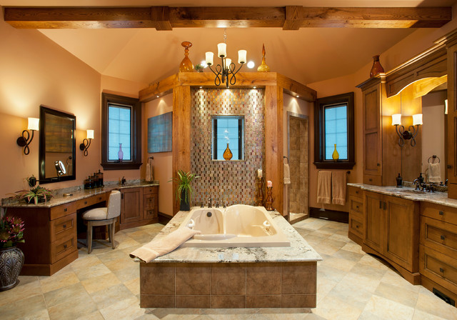 Jacuzzi Bathtubs Bathroom Traditional with Beige Tile Shower Beige