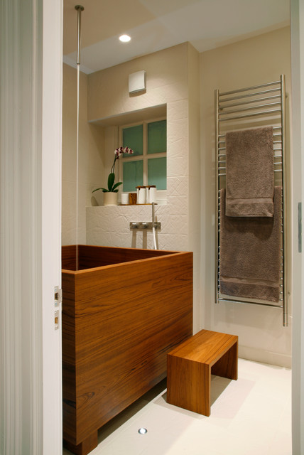 japanese soaking tub Bathroom Contemporary with bespoke concealed lighting Dream