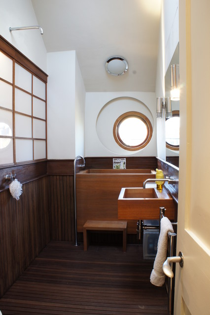 Japanese Soaking Tub Bathroom Eclectic with 18th Century Antique Furniture