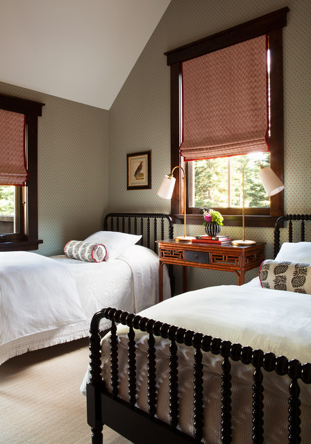 jenny lind bed Bedroom Traditional with dark stained wood trim