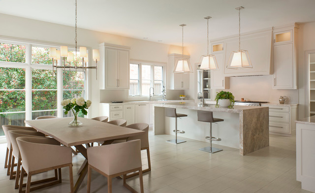 jeremiah lighting Kitchen Transitional with chandelier counter stools dining