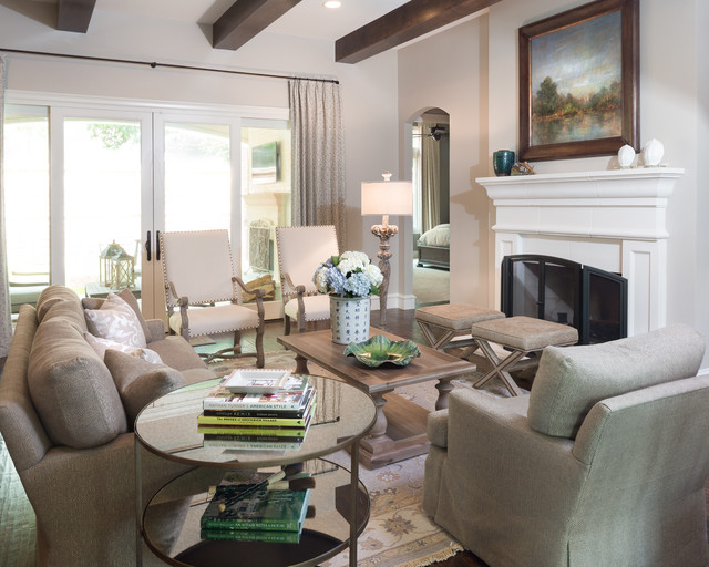 jessica mcclintock furniture Living Room Traditional with archway armchairs beams coffee