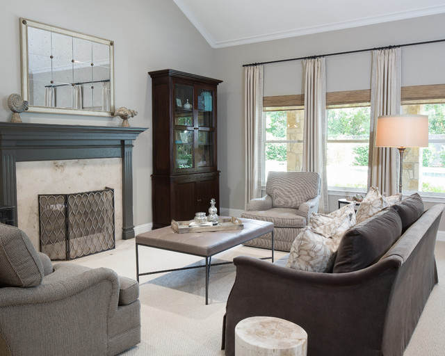 Jessica Mcclintock Furniture Living Room Traditional with Dark Wood Cabinet Gray