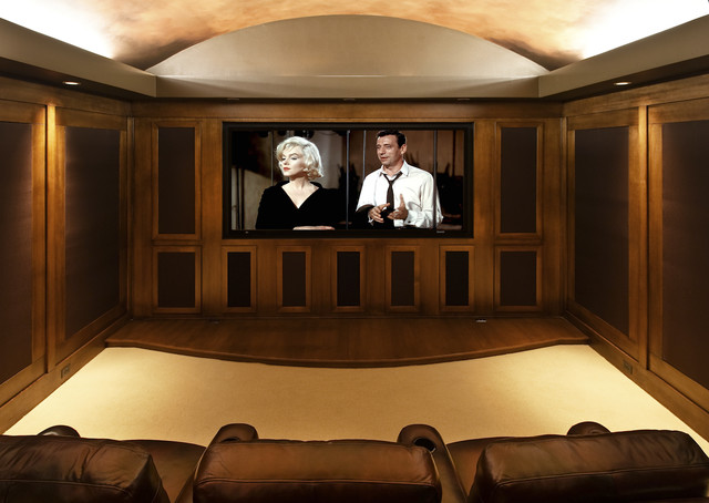 Jimmy Jacobs Homes Home Theater Traditional with Barrel Vault Ceiling Barrel