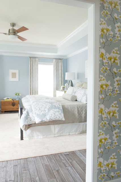 John Robshaw Bedding Bedroom Traditional with Ceiling Fan Floral Wallpaper
