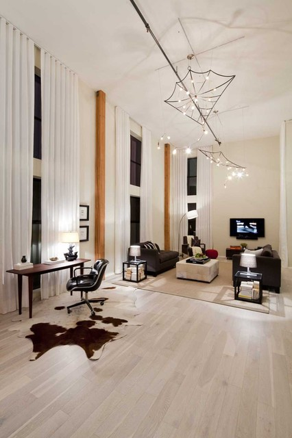 kahrs flooring Living Room Eclectic with accent columns cowhide rug