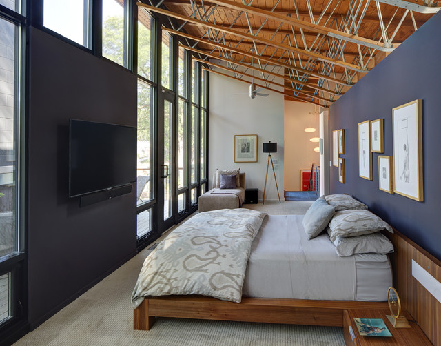 Karastan Carpet Bedroom Contemporary with Black Accent Wall Black