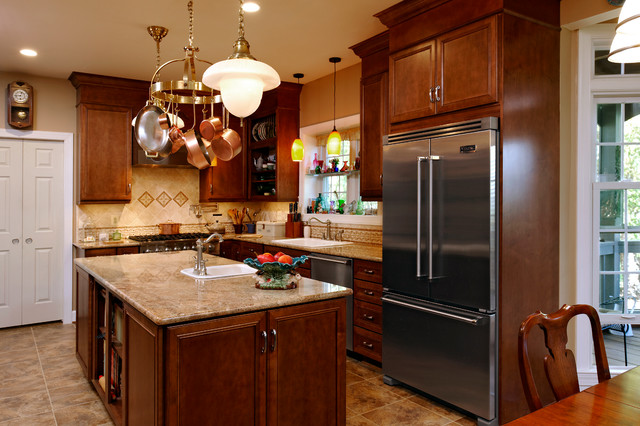 Karls Appliances Kitchen Traditional with Dark Wooden Cabinets Glass
