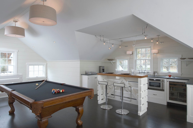 Keith Zars Pools Family Room Transitional with Bar Seating Kitchen Nook