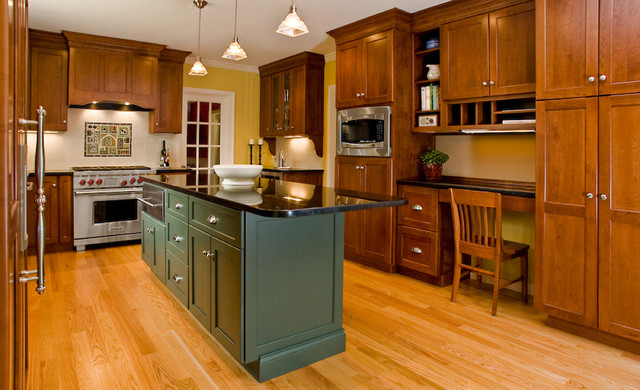 Kemper Cabinets Kitchen Traditional with Backsplash Glass Pendant Lights