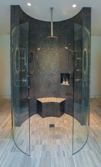 Kerdi Shower System Bathroom Contemporary with Beige Tile Floor Dark