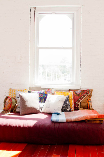 Kilim Pillows Living Room Eclectic with Brick Wall Day Bed